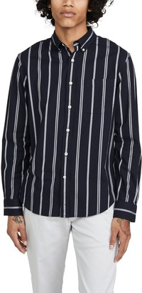 Club Monaco Long Sleeve Slim Button Down Chelsea Striped Shirt