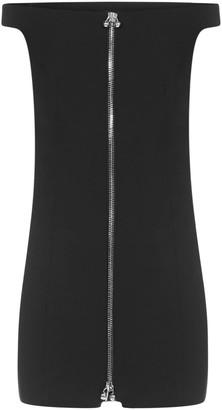 DSQUARED2 Piercing-zip Stretch Wool Mini Dress