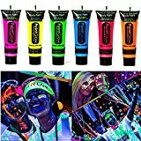Amareu Glow in Dark Body Paint Body&Face Glow Backlight Neon Fluorescent 0.35oz Set of 6 Tubes