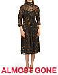 Three-quarter Sleeve Burnout Velvet Dress