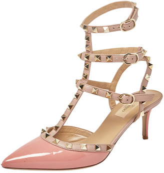 Valentino Pink/Beige Patent Leather Rockstud Pointed Toe Ankle Strap Sandals Size 38
