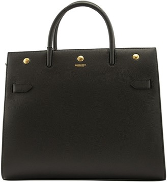 Burberry Md Leather Two-handle Title Bag Black