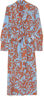 Johanna Ortiz Turn On Your Mind Printed Silk Crepe De Chine Robe