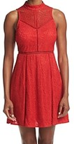 GUESS Red Women's Size 6 Mock Neck Lace A-Line Sheath Dress