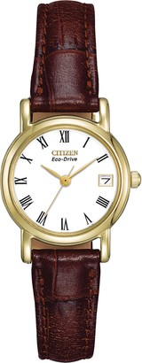 Citizen Ladies Eco-Drive Watch with White Dail Analogue Display and Brown Leather Strap EW1272-01B
