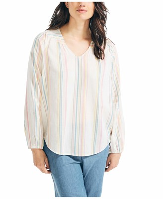 Nautica Women's Lurex Stripe Woven Shirt