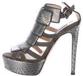 Chrissie Morris Snakeskin Cage Sandals