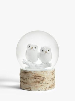 John Lewis & Partners Owls Snow Globe