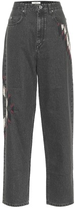 Etoile Isabel Marant Corsyb embroidered high-rise straight jeans
