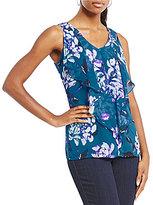 I.N. Studio Sleeveless Floral Print Ruffle V-Neck Top