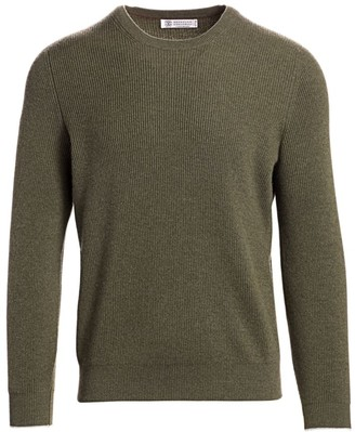 Brunello Cucinelli Heathered Ribbed Cashmere Pullover