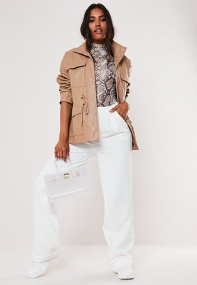 Missguided Tan Faux Leather Drawcord Jacket