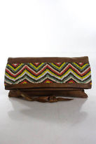 Cleobella Brown Leather Multi Color Beaded Fold Over Clutch Handbag