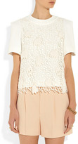 Chloé Crocheted wool and crepe top