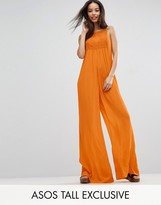 ASOS Tall ASOS TALL Lace Panel Cheesecloth Wide Leg Jumpsuit