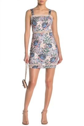 GUESS Ladder Cutout Paisley Floral Mini Dress