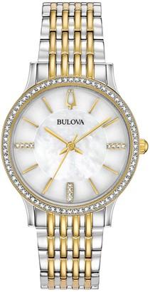 Bulova Women's Quartz Analog Crystal Bracelet Watch Set, 32mm