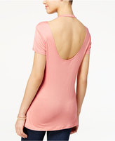 Ultra Flirt Juniors' Strappy Open-Back T-Shirt
