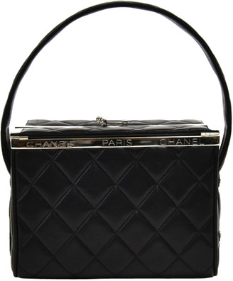 Chanel Black Quilted Leather Vanity Top Handle Bag