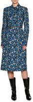 Marni Vertigo Belted Poplin Shirtdress, Blue