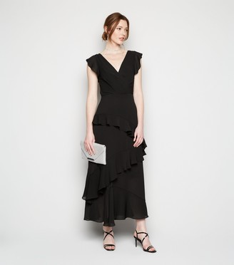 New Look Tall Frill Chiffon Wrap Midi Dress