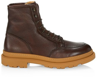 Brunello Cucinelli Shearling-Lined Leather Ankle Boots