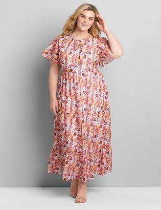 Lane Bryant Chiffon Ruffle-Hem Maxi Dress