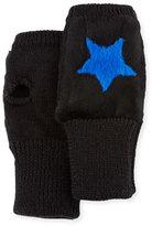 Jocelyn Knit Star Fingerless Gloves, Black/Blue