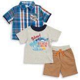 Nannette Baby Boys Plaid Sportshirt, Beach Bum Tee and Shorts Set