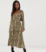 Asos Tall DESIGN Tall midi skater shirt dress with belt in snake print