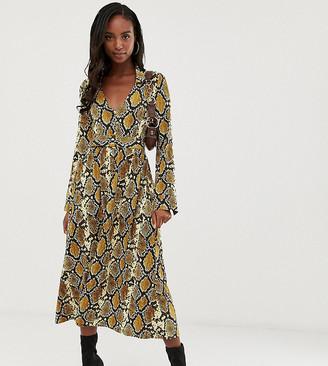 Asos Tall DESIGN Tall midi skater shirt dress with belt in snake print-Multi