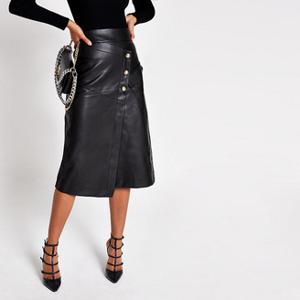 River Island Black faux leather button A line midi skirt