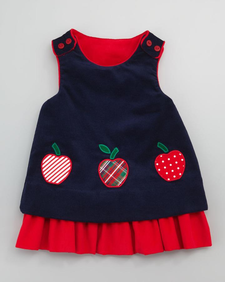 Florence Eiseman Snowflake/Apples Reversible Corduroy Dress, 3-9 Months