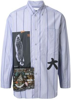 Yoshio Kubo Long Sleeve Mix Print Shirt