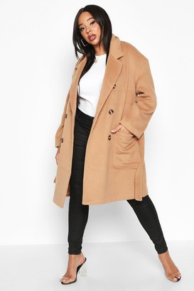 boohoo Plus Wool Look Belted Button Detail Trench Coat
