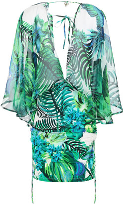 Roberto Cavalli Layered Printed Cotton And Silk-blend Voile And Jersey Mini Dress