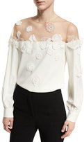 Oscar de la Renta Illusion Off-Shoulder Blouse