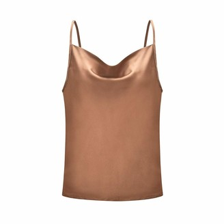 Nika Sexy Womens Solid Color Adjustable Casual Basic Strappy Solid Tank Tops Khaki
