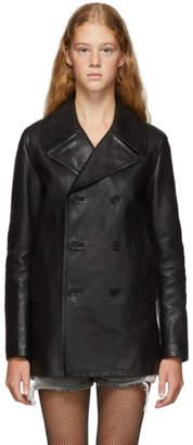 Saint Laurent Black Leather Double-Breasted Caban Jacket