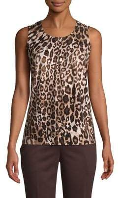 Kasper Pleated Leopard-Print Sleeveless Top