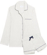 Three J NYC Phoebe Striped Cotton-flannel Pajama Set - White