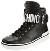 Moschino Leather High-Top Sneaker W/Logo Lettering