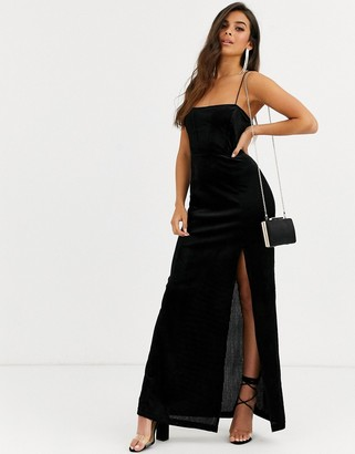 Free People All I Need maxi slip dress with thigh slit-Black