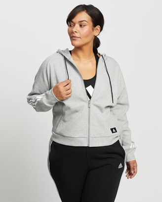 adidas Women's Grey Hoodies - Curvy Wrapped 3-Stripes Full-Zip Hoodie - Size 1X at The Iconic