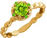 Gem Stone King 0.63 Ct Genuine Round Peridot and Simulated Peridot 14k Yellow Gold Ring