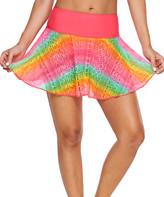 Zesica Women's Bikini Bottoms Rainbow - Coral Rainbow Lace-Overlay Skirted Bikini Bottoms - Women & Plus