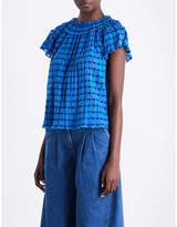 Ulla Johnson Ladies Cobalt Striped Classic Yuri Cotton Top