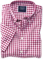 Charles Tyrwhitt Slim Fit Non-Iron Poplin Short Sleeve Raspberry Check Cotton Dress Shirt Size Medium