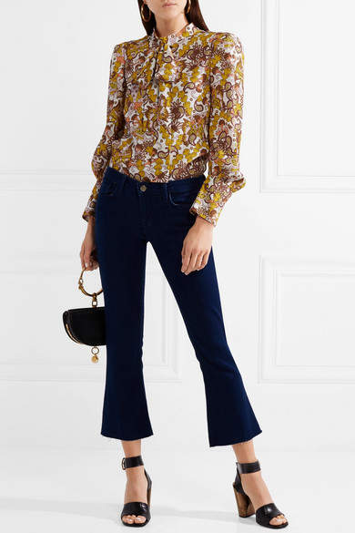 Chloé Pussy-bow Paisley-print Textured-crepe Top