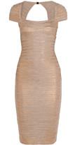 Herve Leger Metallic Bandage Dress - Bronze